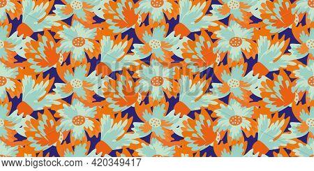 Wild Meadowflower Blossom Seamless Vecor Border. Banner With Abstract Neon Blue Orange Indigo Painte