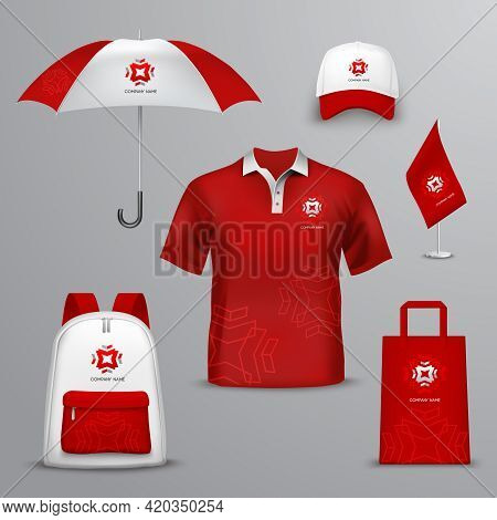 Promotional Souvenirs  For Company In Red And White Colors Design Icons Set With Elements Of Clothin