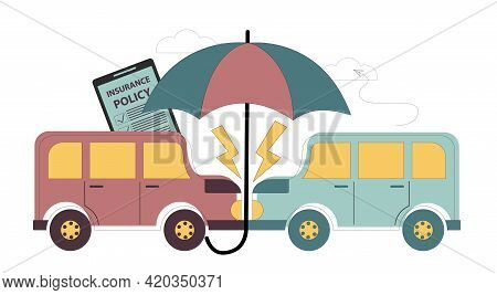 Car Insurance Concept. Compensation For Damage To Vehicles. Sale Of Insurance. Insurance Agents