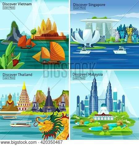 Asian Travel 2x2 Design Concept With Vietnam Thailand Singapore And Malaysia Colorful Landscape Comp