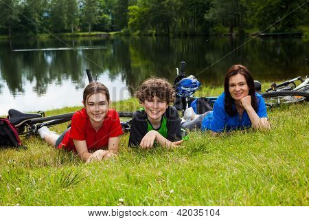 Active family resting after biking
