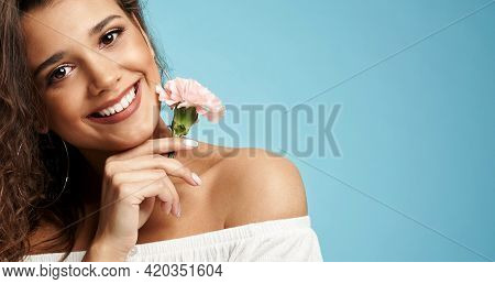 Crop Of Happy Beautiful Brunette Caucasian Female Model With Curly Hair Wearing Dress With Naked Sho