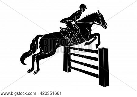 Horseback Riding Woman Riding Horse Jumping Over Obstacle Silhouette