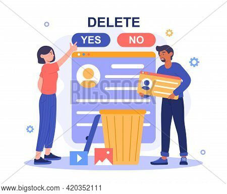 Woman Decide To Delete Her Account Or Profile From Dating Service After Successful Acquaintance. Rel