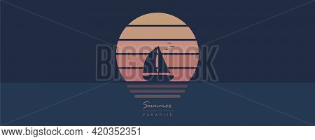 Yacht Marine Sailboat On The Sea At Sunset