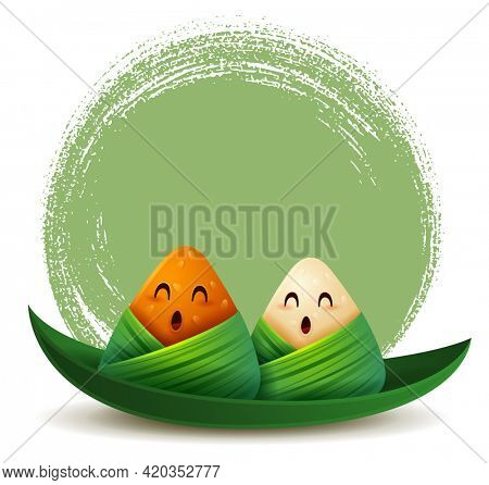 Dragon Boat Festival rice dumpling cartoon character on leaf boat on abstract ink brush circle background. Isolated.