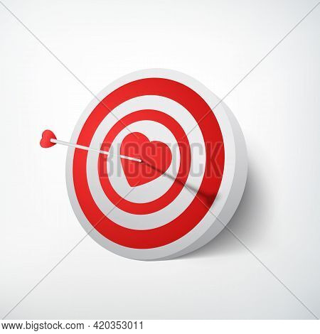 Valentines Day Target Concept With Arrow Hitting Dartboard In Red Heart On White Background Isolated