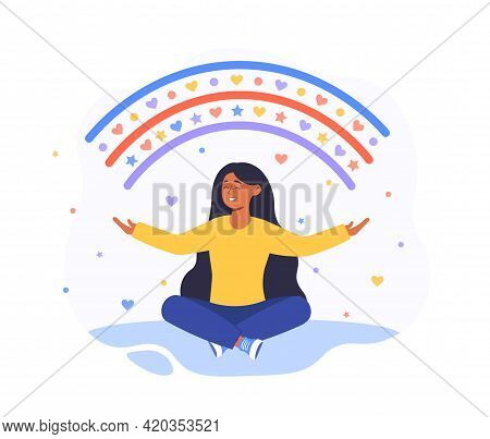 Happy Woman Sits In Lotus Pose And Open Her Arms To The Rainbow. Meditation Practice. Smiling Girl C