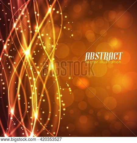 Abstract Design With Decoration From Glowing Lines With Magic Effect On Blurred Background Vector Il