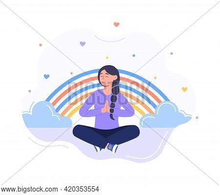 Tranquil Woman With Closed Eyes And Croosed Legs Meditating In Yoga Lotus Posture. Meditation Practi