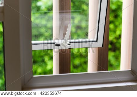 Opened Aluminium Window With Latch Handle