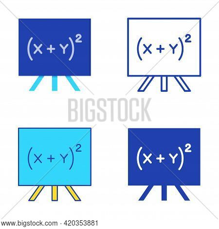Quadratic Equation Icon Set In Flat And Line Style