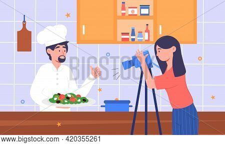 Popular Tv Cooking Show Program Shooting Process. Cooking Live Streaming. Cameraman Recording Video.