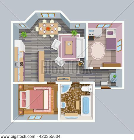 Architectural Flat Plan Top View With Living Rooms Bathroom Kitchen And Lounge Furniture Vector Illu