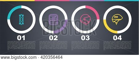 Set Line Longboard Or Skateboard, First Aid Kit, Helmet And Bicycle Helmet. Business Infographic Tem