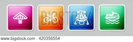 Set Line Hang Glider, Bicycle, Snowmobile And Jet Ski. Colorful Square Button. Vector