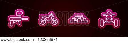 Set Line Paintball Gun, Mountain Bike, Formula 1 Racing Car And Atv Motorcycle. Glowing Neon Icon. V