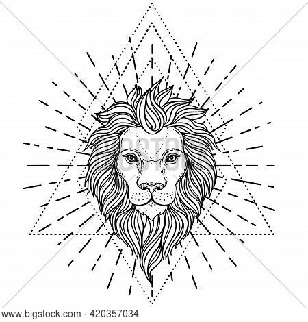 Ornate Lion Head Over Sacred Geometry. African, Indian, Totem, Tattoo, Sticker Design. Design Of T-s