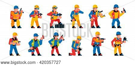 A Set Of Workers With A Power Tool. Men And Women Working With Professional Power Tools. Constructio