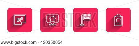 Set Line House Plan, Location With House, Hanging Sign Sold And Contract With Long Shadow. Red Squar