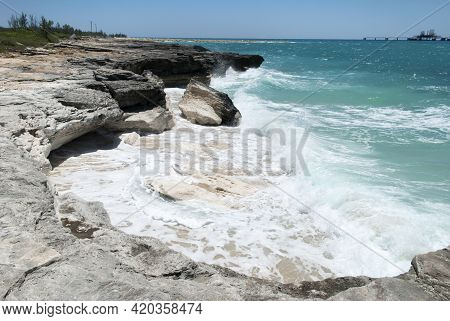 The View Of Strong Waves Eroding The Coastline On Grand Bahama Island.