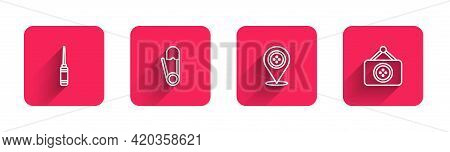 Set Line Awl Tool, Safety Pin, Location Tailor Shop And Tailor With Long Shadow. Red Square Button.