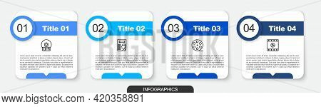 Set Line Cd Or Dvd Disk, Cinema Poster, Film Reel And Play Video. Business Infographic Template. Vec