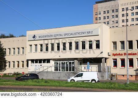 Jastrzebie Zdroj, Poland - May 11, 2021: Hospital Building In Jastrzebie Zdroj, Poland. Jastrzebie-z