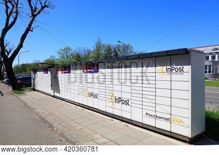 Kedzierzyn-kozle, Poland - May 11, 2021: Parcel Locker Box Paczkomat In Poland. Paczkomat Machines W