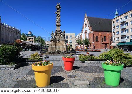 Raciborz, Poland - May 11, 2021: Main Square (rynek) Of Raciborz City, Poland. Raciborz Is An Import