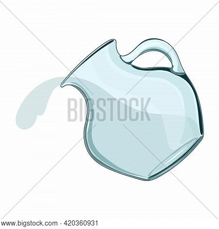 A Glass Jug. Water Pours From A Jug. Liquid Dishes. Glass. Isolated, White. Vector