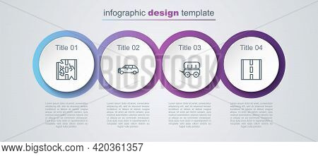 Set Line Broken Road, Hatchback Car, Wild West Covered Wagon And Road. Business Infographic Template
