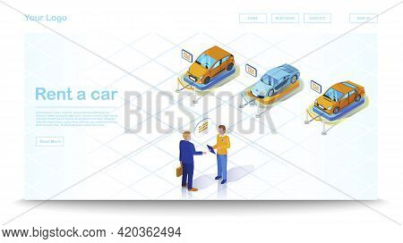 Car Dealership Isometric Website Template. Vehicle Leasing. Automobile Rental And Purchase. Car Leas