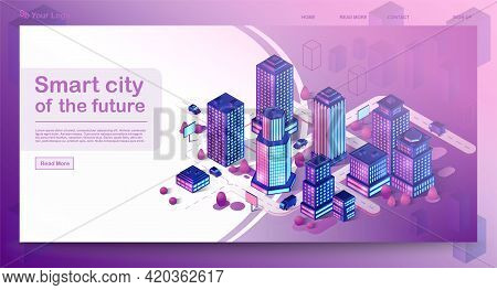 Smart City Isometric Architecture Concept. Web Banner With Neon Modern Buildings. Futuristic City. 3