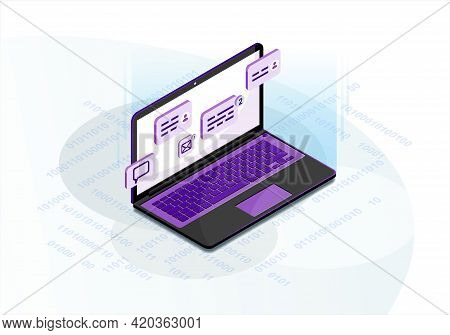 Chatting Isometric Vector Illustration. Social Media Infographic. Live Chat. Online Communication. M