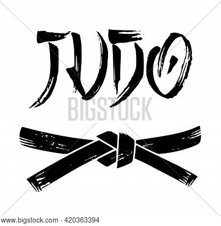 Vector Black Belt Grunge Stencil Silhouette Drawing Illustration With Judo Calligraphy Word Text Let