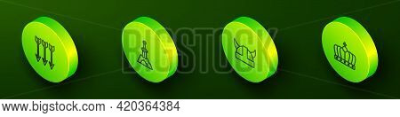 Set Isometric Line Crossed Arrows, Sword In The Stone, Viking Horned Helmet And King Crown Icon. Vec