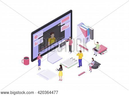 Video Tutorials Isometric Vector Illustration. E-learning. Online Courses And Education. Video Strea