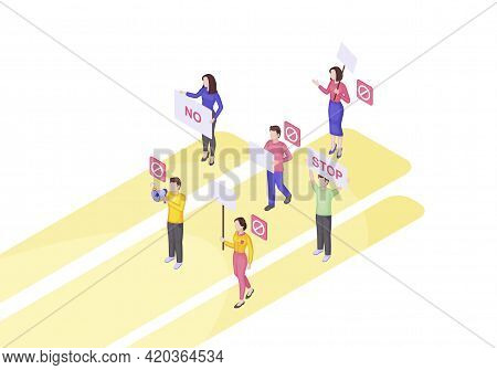 Protest Event Isometric Vector Illustration. Meeting. Activists. Social Movement 3d Concept. Public