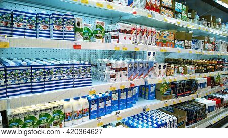 St. Petersburg, Russia - April 18, 2021: Top Russian Supermarket Is One Of Largest Players Of Retail