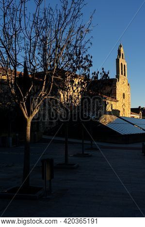 Astorga, Spain - January 04, 2021: Perpetuo Socorro De Los Redentoristas Church Reflected In A Glass