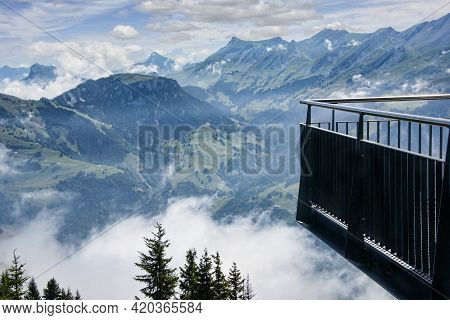 The Majestic Swiss Alps View From A Lookout Tower.