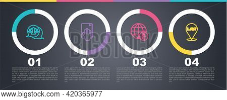 Set Line Scales Of Justice, Oath On The Holy Bible, International Law And Location. Business Infogra