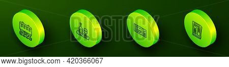 Set Isometric Line Passenger Train Cars, Wine Bottle With Glass, Train Ticket And News Icon. Vector