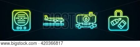 Set Line Attitude Indicator, Plane, Fuel Tanker Truck And Suitcase. Glowing Neon Icon. Vector