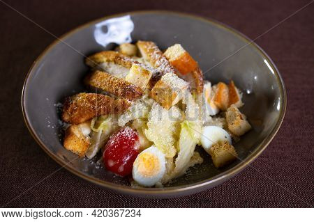 Salad With Eggs, Tomatoes And Breadcrumbs And Lettuce