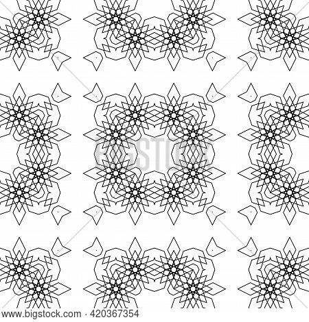 Design Seamless Decorative Lacy Pattern. Abstract Square Monochrome Background. Vector Art