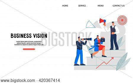 Website Template With Business People Aiming Up Career Ladder, Flat Vector Illustration. Opportuniti