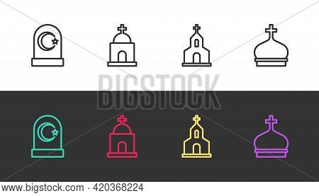 Set Line Muslim Cemetery, Old Crypt, Church Building And Tower On Black And White. Vector