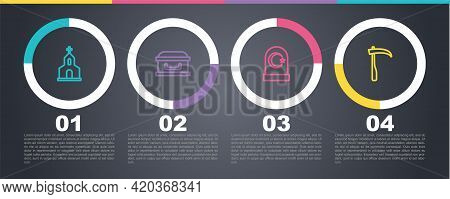 Set Line Church Building, Coffin With Cross, Muslim Cemetery And Scythe. Business Infographic Templa
